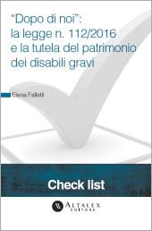 """Check List """"Dopo di noi"""": la Legge n. 112/2016 e la tutela del patrimonio dei disabili gravi"""