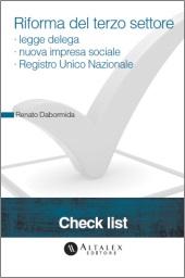 Check List - Riforma del terzo settore: legge delega - nuova impresa sociale - Registro Unico Nazionale